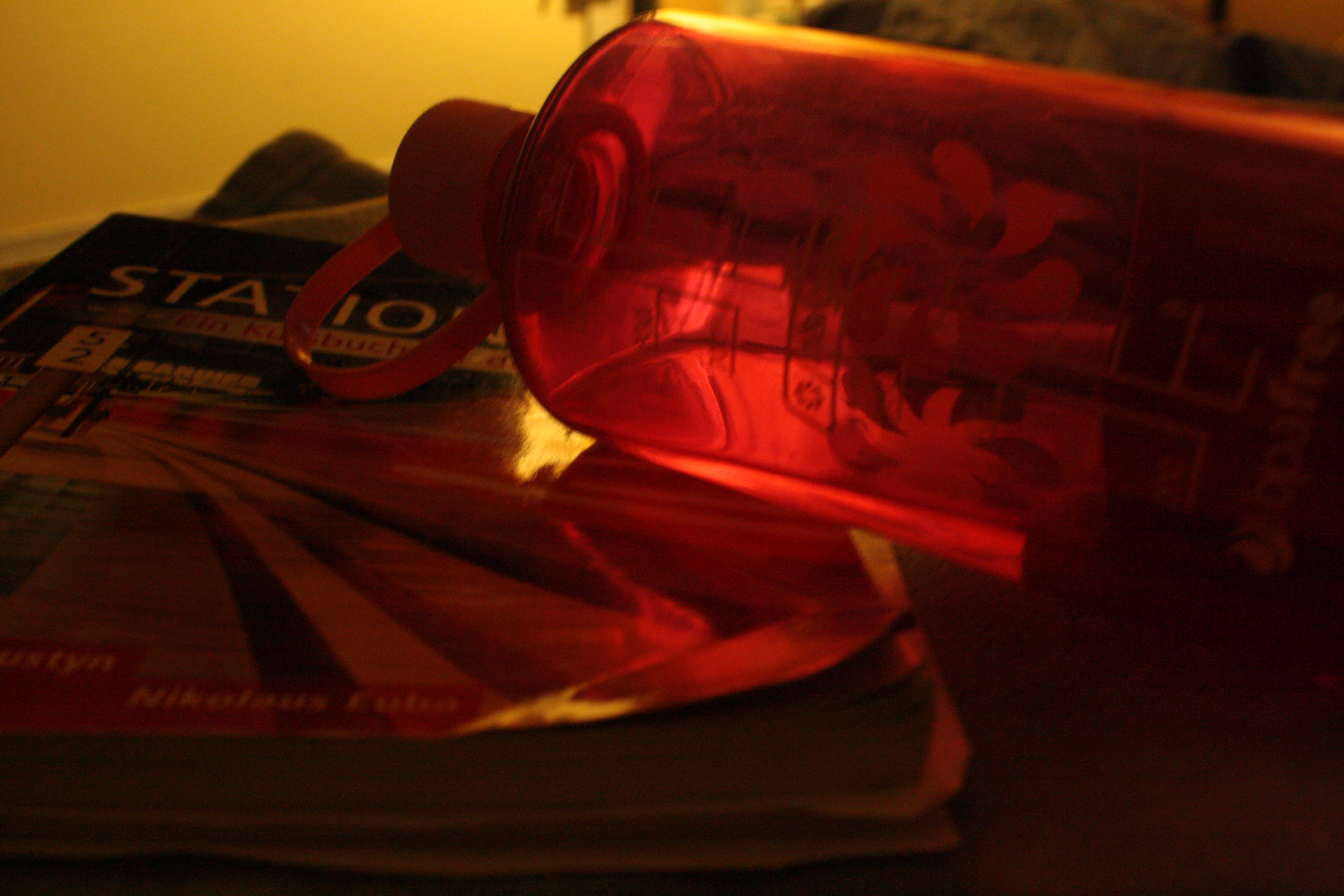 Wasserflasche und Buch